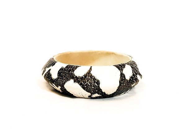 Animal Print Leather Bangle, Authentic Indian, Patterned Bangle, Black and White