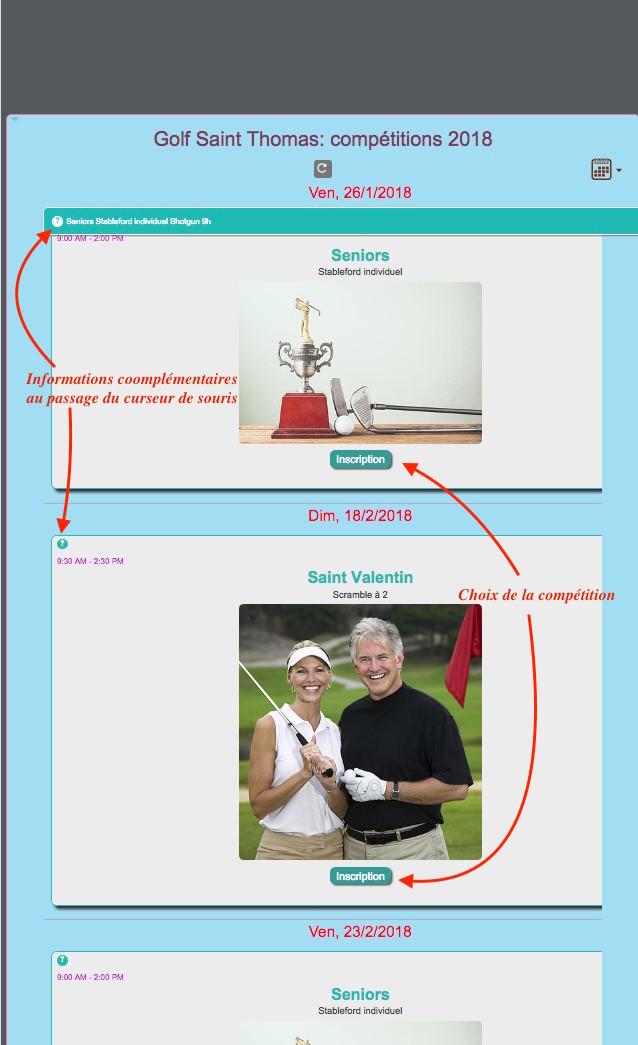 Inscriptions compétitions Association Sportive golf Saint Thomas