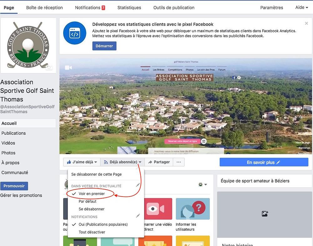 Page Facebook Association Sportive golf Saint Thomas