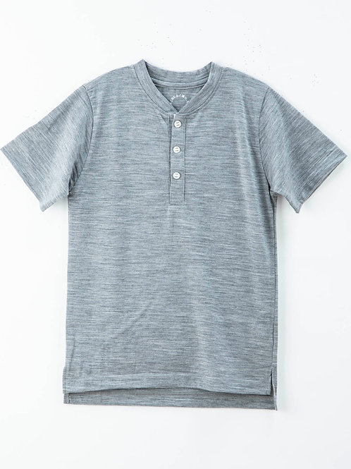 山と道 Merino Henry Neck T-shirt Gray Marl