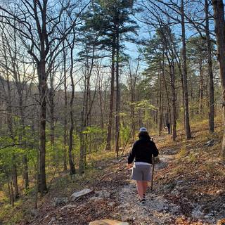 hiking to blue hole