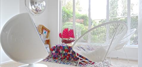 "Eero Aarnio ""Ball Chair"", Acapulco Chairs, Morrocan rugs, Wall art & ""Junk"" chinese boat."