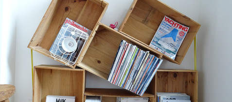 Book shelves designed by architect Julien Legros.