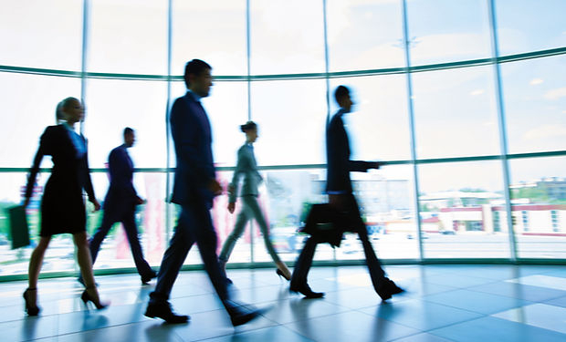 People walking in Corporate Office
