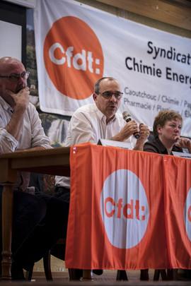 Intervention de Laurent Berger en Alsace à l'AG du SCEA Dominique Toussaint (SG URI GE), Laurent, Sabine Gies (SG adjointe URI GE) Reproduction interdite