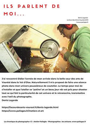 Ils parlent de moi Denis Lagarde Atelier Pallagès