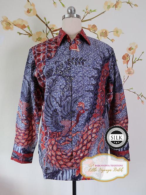 Hand-drawn Shirt Birds Red Blue on Textured silk (M)