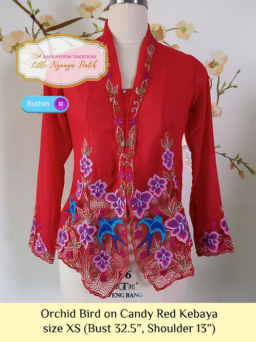 size XS: B Orchid Bird in Candy Red Kebaya