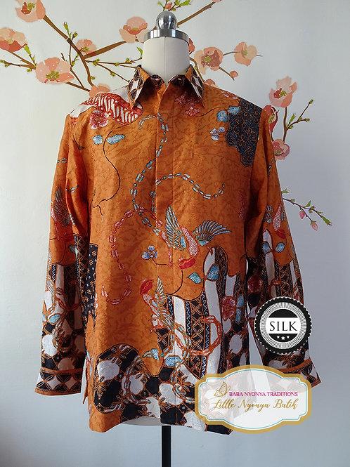 Hand-drawn Shirt Birds Burnt Orange on Textured silk (M)