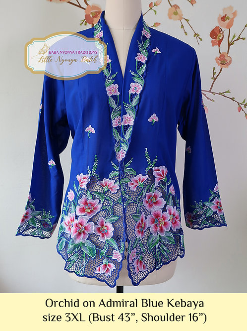 H: Orchid in Admiral Blue Kebaya. Size 3XL