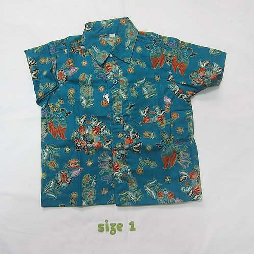 Boy Shirt Kakatua Turquoise. For 1 yo