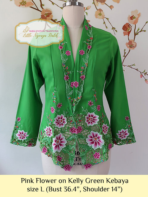 H: Pink Flower in Kelly Green Kebaya. size L