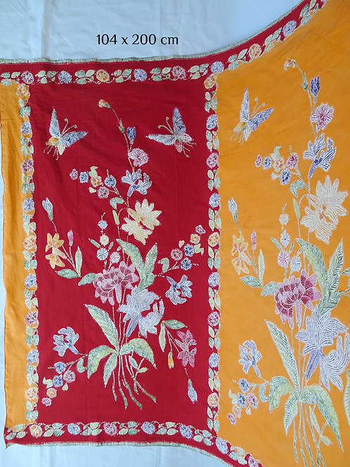 Sarong 2tone Flower on Red-Orange Cotton