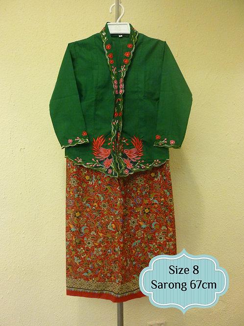 size 8  (7 yo). Cotton Bird on Green