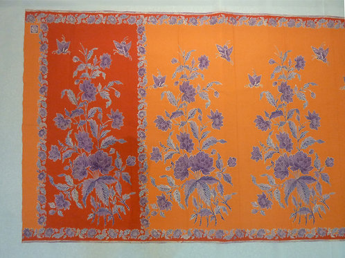 Sarong 2Tone Purple Butterfly on Orange Cotton