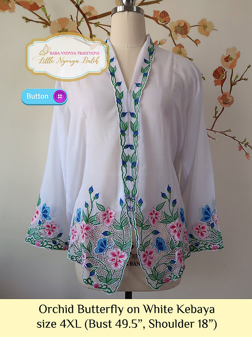 B: Orchid Butterfly in White Kebaya. size 4XL