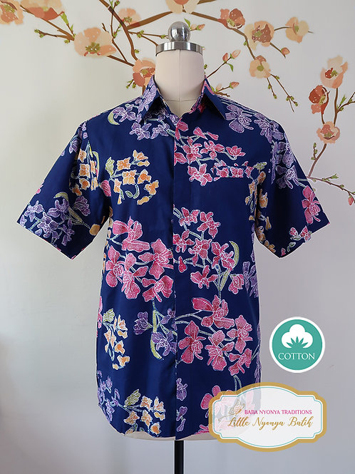 SBMS: Orchid Navy Blue on Cotton (S) No Lining