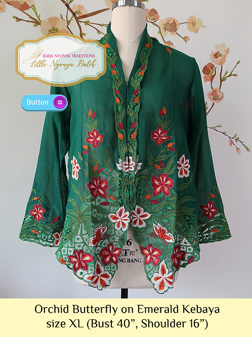 B: Orchid Butterfly in Emerald Kebaya. size XL