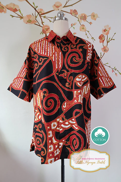 Hand-drawn Abstract Red Black. Cotton. Size XL