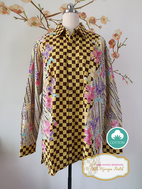 SBML: Orchid Yellow Brown on cotton. No Lining. size XXL