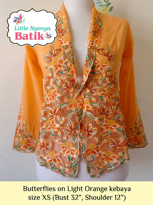 Lux: Butterflies on Light Orange Kebaya (XS)