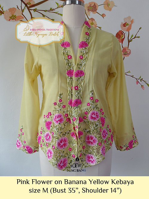 B: Pink Flower in Banana Yellow Kebaya. size M