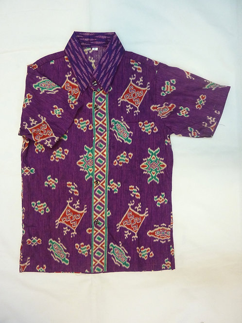 Boy Purple Woven Motif. size 13