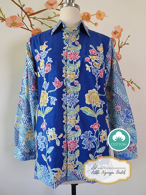 SBML: Floral Blue on Cotton. No Lining. size S