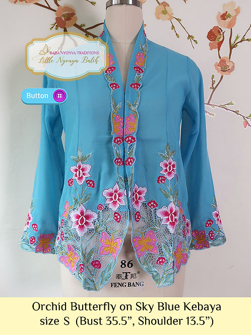 B: Orchid Butterly in Sky Blue Kebaya. size S
