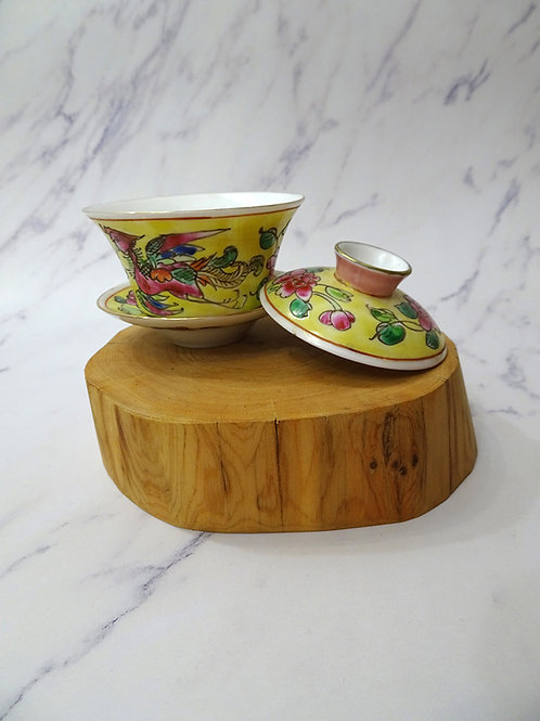 Baba Tea Cup Square  Lid, Saucer Yellow in Box
