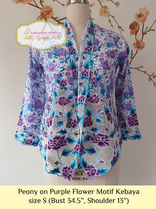 H: Peony on Purple Flower Motif Kebaya. Size S