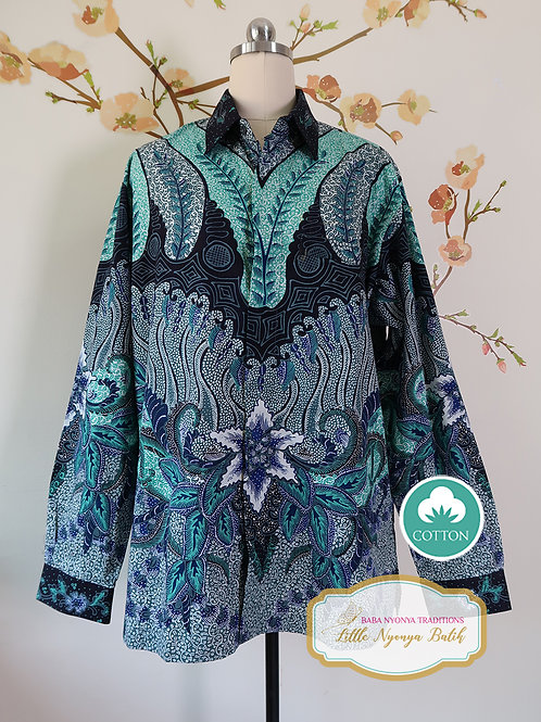 Hand-drawn Floral Turquoise on Cotton. Long (XL)
