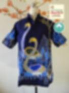 orange bird batik silk men shirt short sleeve baba singapore