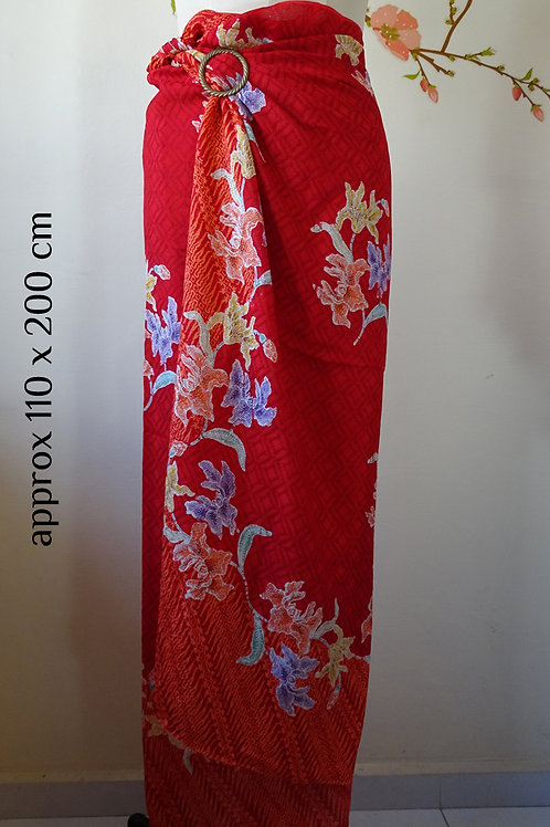 Textured Viscose Sarong Red Orchid Butterfly