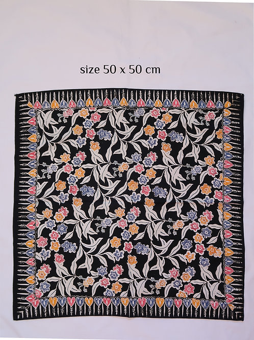 Extra Large Hankie/Napkin Black Flower