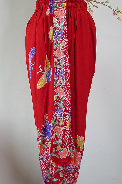 Sarong Rubberised Skirt Red Plain