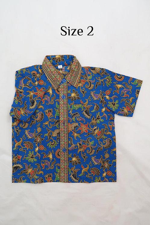 Boy Batik Shirt Blue.  size2 for 2 yo