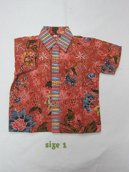 Boy Shirt Floral Red. For 1yo