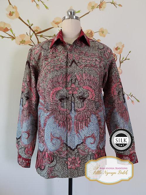 Hand-drawn Shirt Red Phoenixes on Textured silk (M)
