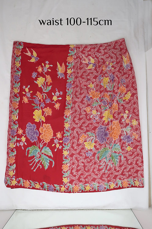 Sarong Skirt Button: Peony Bird Butterfly on Red