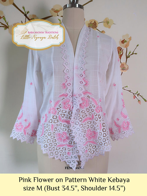 H: Pink Flower on Textured White Kebaya. Size M