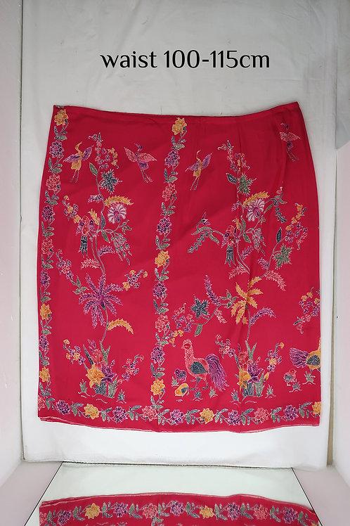 Sarong Skirt Button: Chicken Crane on Magenta