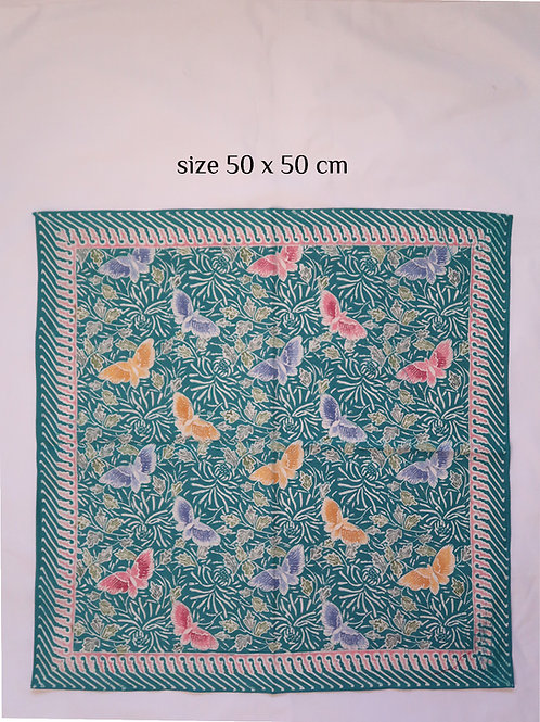 Extra Large Hankie/Napkin Turquoise Butterfly