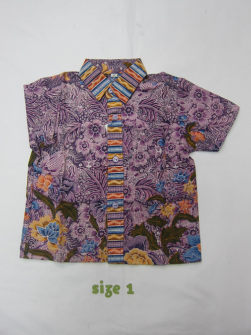 Boy Shirt Floral Purple. For 1yo