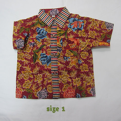 Boy Shirt Floral Maroon. For 1yo