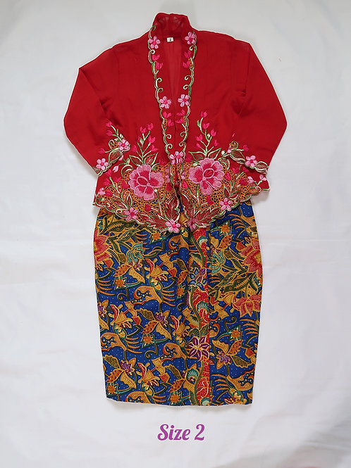 size 2 (2 yo). Red Flower on Red Kebaya
