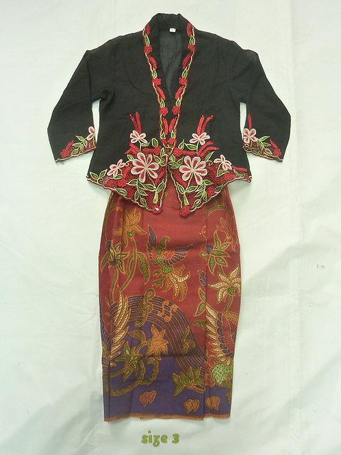 size 3 (3 yo). Red Flower on Black Kebaya