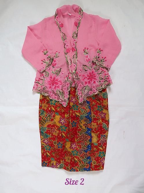 size 2  (2 yo). Flower on Baby Pink kebaya