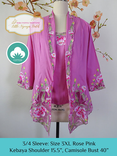 3/4 Sleeve with Camisole  Rose Pink (3XL)