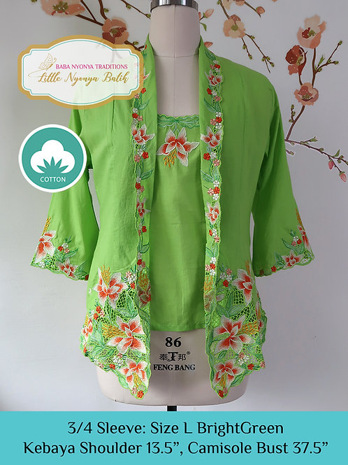 3/4 Sleeve with Camisole Bright Green (L)